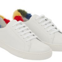 Anya Hindmarch AW18 Tennis Shoe in White Nappa with Rainbow Mink $5100
