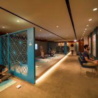 The Sanctuary by Pure Yoga at the Hong Kong International Airport, providing 700 sq. ft. serenity and relaxation in Cathay Pacific's The Pier Business Lounge